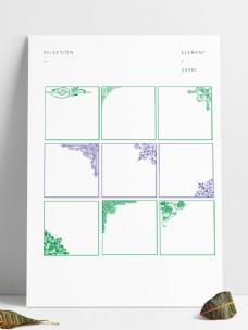 9種框紋筆刷四個角度