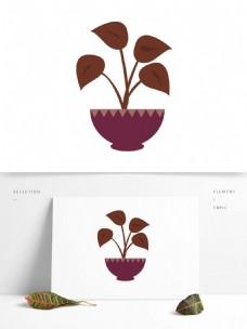 植物盆栽大葉子矢量手繪圖