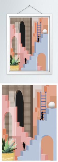 简约北欧风立体建筑空间装饰画