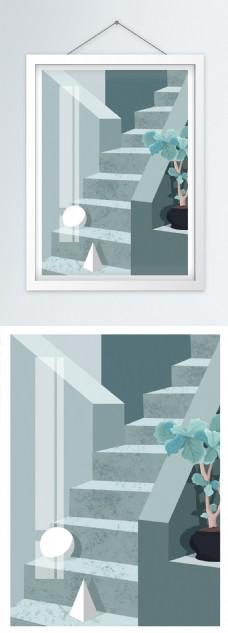 简欧同色系莫兰迪空间透视几何装饰画