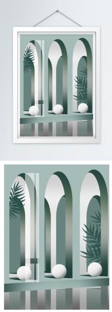 简欧莫兰迪大气透视几何空间装饰画