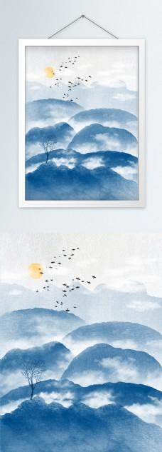 蓝色云雾山水意境群山新中式装饰画