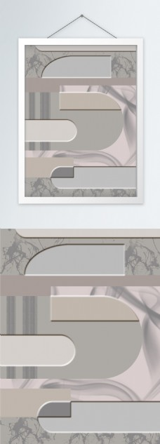 莫兰迪色系高级灰几何纹理浮雕创意装饰画