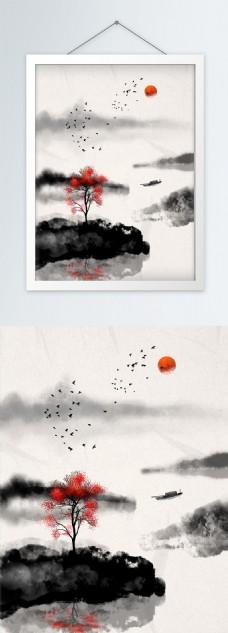 原创手绘中国风手绘水墨山水画装饰画