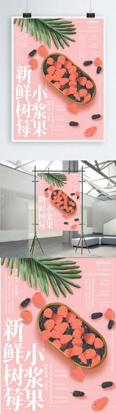 原创插画新鲜树莓水果海报