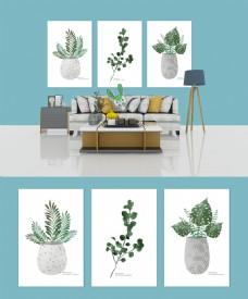 简欧清新现代绿色植物客厅装饰画