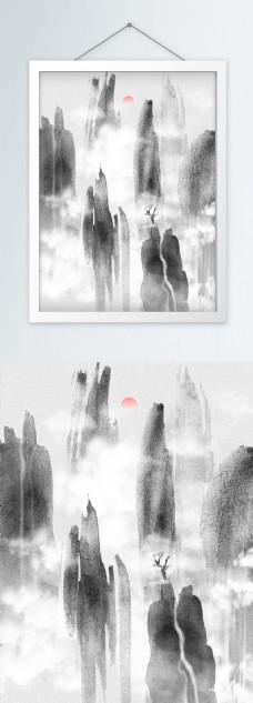纯原创手绘意境水墨山水装饰画
