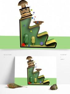 3d设计彩色手绘图