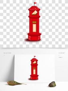 世界邮政日红色邮箱矢量元素