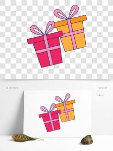 彩色手绘礼物卡通免扣素材