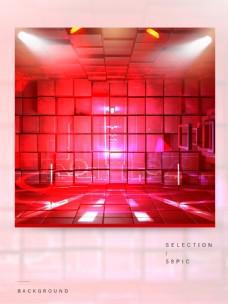 红色立体方块的主图背景