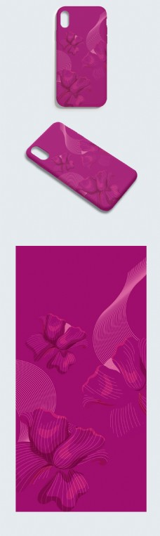 AI紫色矢量花纹手机壳