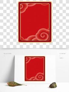 复古云纹装饰的红色边框