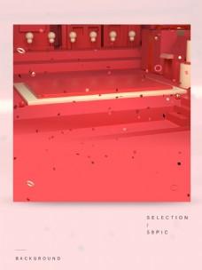 红色喜庆立体C4DPC端背景素材