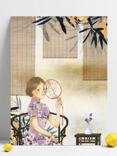 老上海旗袍女人复古民国风背景