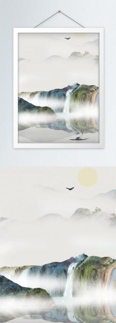 水墨船只山水风景画