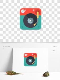 扁平风音乐唱片黑胶光盘图标元素装饰图案