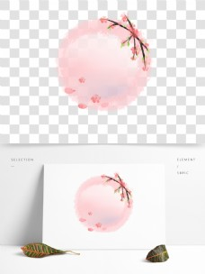 粉色桃花水墨圆环