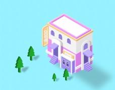 2.5D平面建筑小插画