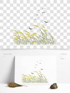 古风霜降芦苇和鸟