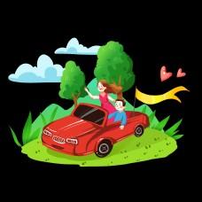 国庆节红色卡通汽车旅游动态gif元素