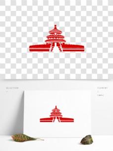国庆节天坛剪纸风元素