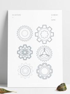 灰色工业齿轮平面图标手绘