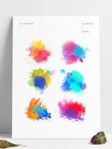 五彩水墨涂鸦爆炸笔触喷溅设计元素