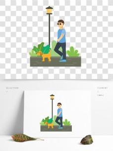 原创牵着导盲犬的人插画素材