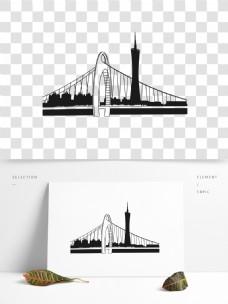 城市线条广州市线条剪影黑白阴影元素