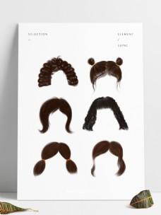 头发女性头发发型元素