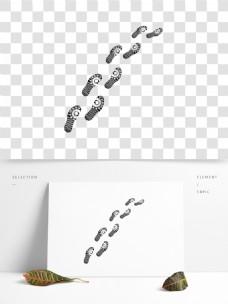 黑色印迹人物脚印鞋底印