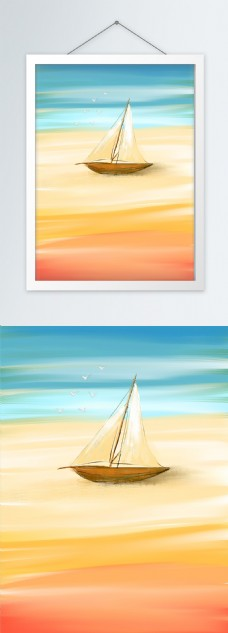 原创手绘帆船海洋油画装饰画