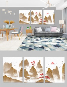 新中式大气质感金色山水装饰画