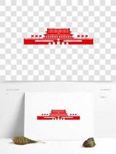 红色天安门国庆节剪纸