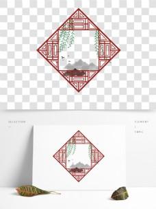 红色手绘中国风窗户花边边框国风