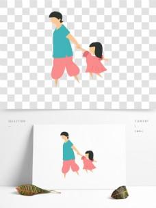 手绘卡通父女人物png元素