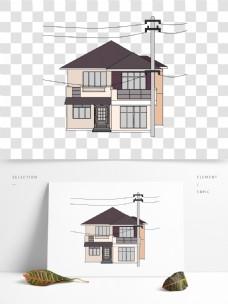 卡通简约电塔与房屋