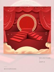 红色展示台的主图背景