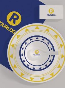 原创模型盘子勺子碗餐饮logo样机