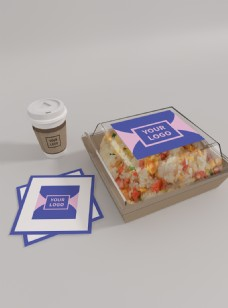 原创模型外卖快餐打包盒贴纸样机