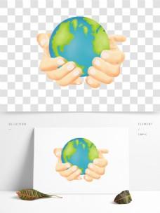手绘卡通手捧地球png元素
