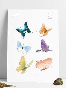 手绘飞舞的五彩蝴蝶套图