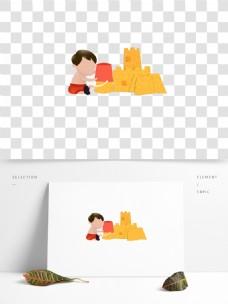 卡通可爱小男孩png素材
