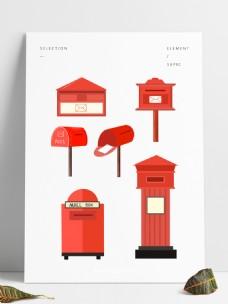 红色邮箱世界邮政日邮箱卡通邮箱