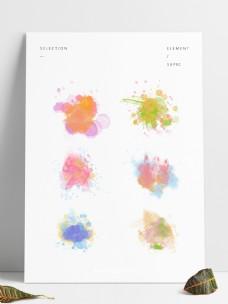 原创水彩泼墨喷溅小清新涂鸦元素