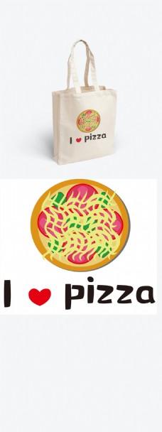 原创卡通手绘我爱披萨帆布袋