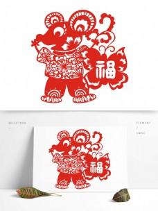 中国风老鼠福剪纸