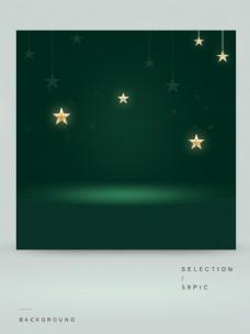 星星装饰的绿色主图背景