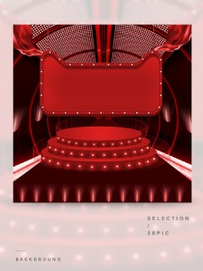红色的立体舞台主图背景